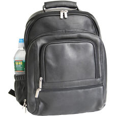 Deluxe Laptop Backpack - Colombian Vaquetta Leather - Black