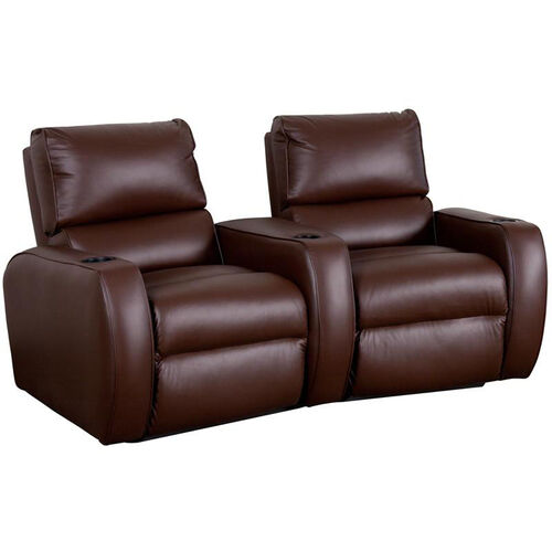 Welbourne Two Seater Home Theater - Wedge Arm in Top Grain Leather