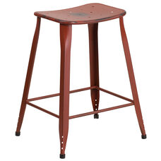 24'' High Distressed Kelly Red Metal Indoor-Outdoor Counter Height Saddle Comfort Stool