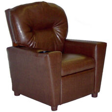 Kids Faux Leather Theater Recliner with Cup Holder - Pecan Brown