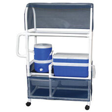 Hydration Cart with Ice Chest and Water Cooler with Canopy and Casters- 20''W X 48.5''D X 69''H