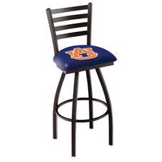 Auburn University 25'' Black Wrinkle Finish Swivel Counter Height Stool with Ladder Style Back