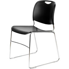 4800 Series Quick Ship Stackable Chair with Polished Chrome Frame - Black - Set of Four