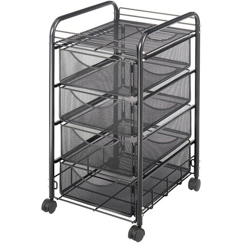 Onyx™ 15.75'' W x 17'' D x 27'' H Mesh File Cart with Four Drawers - Black