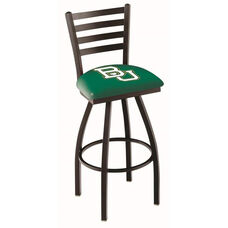 Baylor University 25'' Black Wrinkle Finish Swivel Counter Height Stool with Ladder Style Back