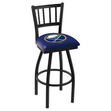 Buffalo Sabres 25'' Black Wrinkle Finish Swivel Counter Height Stool with Jailhouse Style Back