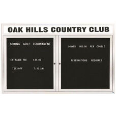 2 Door Outdoor Enclosed Directory Board with Header and White Anodized Aluminum Frame - 36''H x 60''W