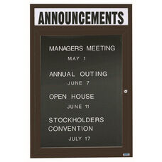 1 Door Outdoor Enclosed Directory Board with Header and Bronze Anodized Aluminum Frame - 48''H x 36''W