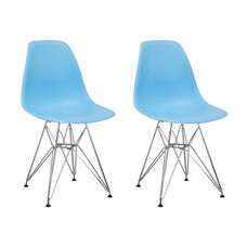 Paris Tower Side Chair with Chrome Legs and Blue Seat - Set of 2