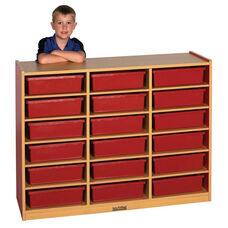 Color Essentials Mobile 18 Compartment Multi-Purpose Cabinet - Red Side Panels