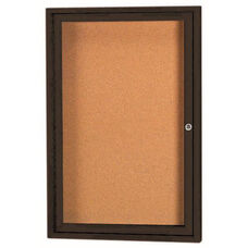 1 Door Indoor Illuminated Enclosed Bulletin Board with Black Powder Coated Aluminum Frame - 24''H x 18''W