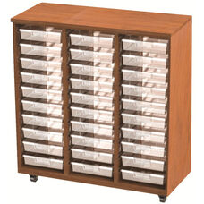 30 Tote Tray Storage Solution (19'' Deep) Open Cabinet with Casters - 42''W x 24''D x 48''H