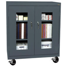 See-Thru Series 36'' W x 18'' D x 48'' H Clear View Mobile Counter Height Cabinet - Charcoal
