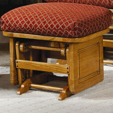 Oak Wood 17''H Ottoman with Solid Side Panel - Light Oak Finish