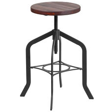 24'' Counter Height Stool with Swivel Lift Wood Seat