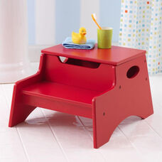Kids Sturdy Wooden Step 'N Store Two Step Stool with Storage - Red