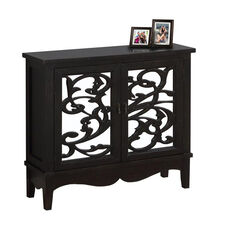 Traditional Birch 32''H Accent Chest with Scroll Overlay Mirror Doors - Antique Black