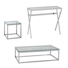 Decklyn Contemporary Glam 3 Piece Accent Table Set with Clear Glass Tops - Chrome
