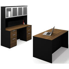 Pro-Concept Executive Kit with High Hutch and Drawers - Milk Chocolate Bamboo and Black