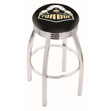 Purdue University 25'' Chrome Finish Swivel Backless Counter Height Stool with 2.5'' Ribbed Accent Ring