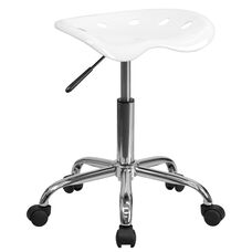 Vibrant White Tractor Seat and Chrome Stool