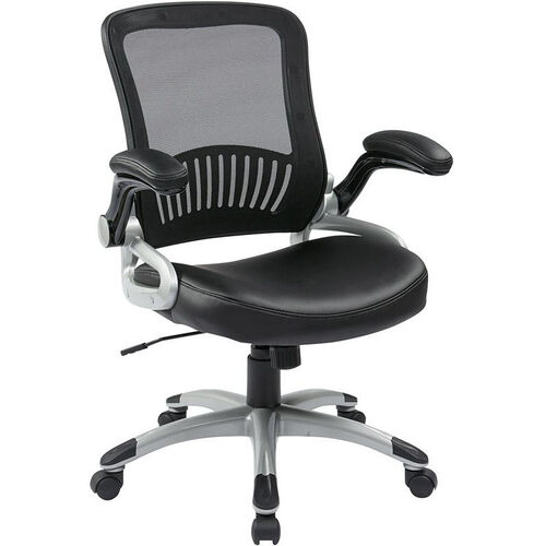 Work Smart Screen Back Eco Leather Seat Managers Chair with 2-to-1 Synchro Tilt and Padded Flip Arms - Black