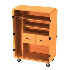 Transporter Storage Cabinet with 2 Drawers, 2 Adjustable Shelves, Divider & Garment Rod with 2 Locking & 2 Non-Locking Casters - 48''W x 23''D x 60''H