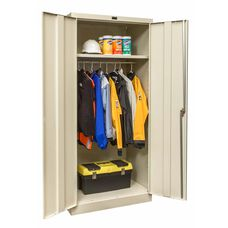 800 Series One Wide Single Tier Double Door Wardrobe Cabinet - Unassembled -Parchment - 36''W x 18''D x 78''H