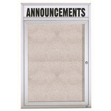 1 Door Outdoor Illuminated Enclosed Bulletin Board with Header and Aluminum Frame - 36''H x 24''W