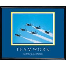 Advantus 30'' W x 24'' L Framed Motivational Art Print - Teamwork with Jets Formation