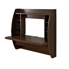 Floating 42.25''W Desk with 7 Open Storage Compartments - Espresso