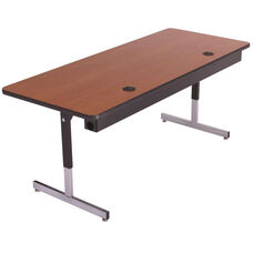 Laminate Top Computer Table with Adjustable Height Pedestal Legs and Wire Management - 24''W x 96''D x 22''H - 29''H