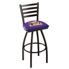 Louisiana State University 25'' Black Wrinkle Finish Swivel Counter Height Stool with Ladder Style Back