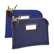 MMF Currency Bag with Built-in Lock - 11'' x 8.50'' - Army Duck - 1Each - Navy