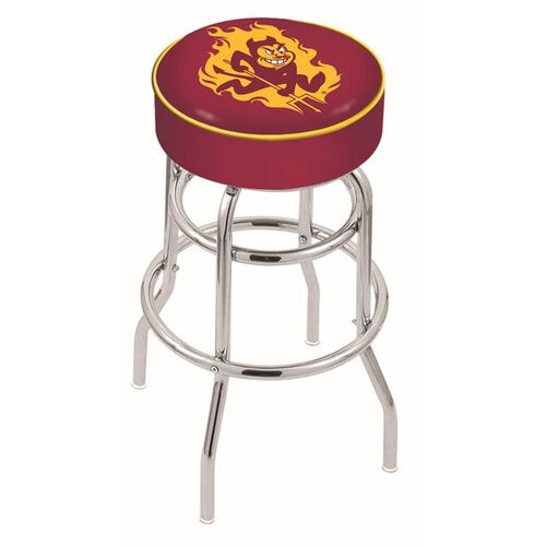 Arizona State University 25'' Chrome Finish Double Ring Swivel Backless Counter Height Stool with 4'' Thick Seat