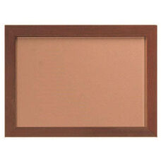 Architectural High Performance Natural Pebble Grain Cork Bulletin Board with Oak Wood Grain Look Aluminum Trim