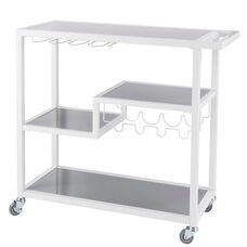 Zephs 40''W x 16''D Metal and Gray Glass Bar Cart with Locking Casters - White