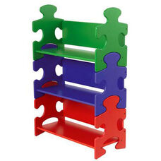 Kids 37.5''H Wood Puzzle Pieces Shaped Three Shelves Bookshelf - Primary