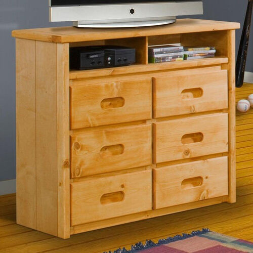 Rustic Style 44''W x 17.5''D Solid Pine Media Chest - Cinnamon