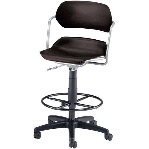 Martisa Plastic Task Drafting Kit Chair - Silver Frame and Black Seat
