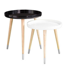 Coho Mid Century Modern 2 Piece Nesting Accent Tables with High Gloss Tray Tops - White and Black