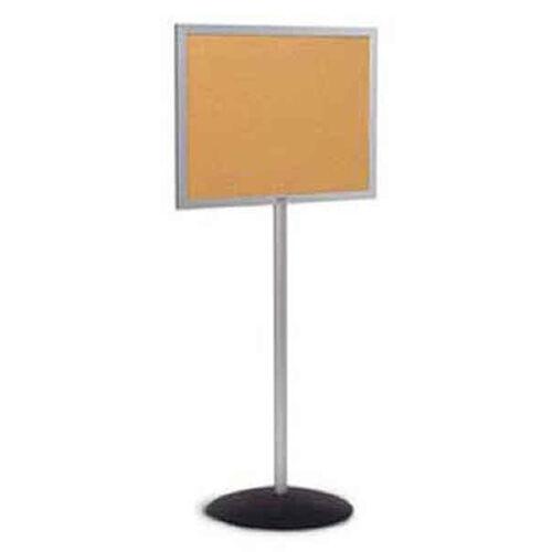 Single Pedestal Single-Sided Aluminum Frame and Open-Face Bulletin Board