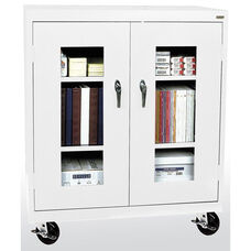 See-Thru Series 36'' W x 18'' D x 48'' H Clear View Mobile Counter Height Cabinet - White