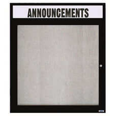 1 Door Outdoor Illuminated Enclosed Bulletin Board with Header and Black Powder Coated Aluminum Frame - 36''H x 30''W