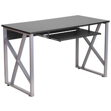 Black Computer Desk with Pull-Out Keyboard Tray