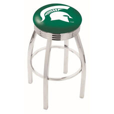 Michigan State University 25'' Chrome Finish Swivel Backless Counter Height Stool with 2.5'' Ribbed Accent Ring
