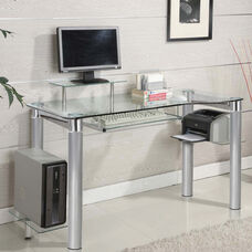 Saturn Tempered Glass and Metal 47.2''W x 33.4''H Computer Desk with Raised Monitor Platform