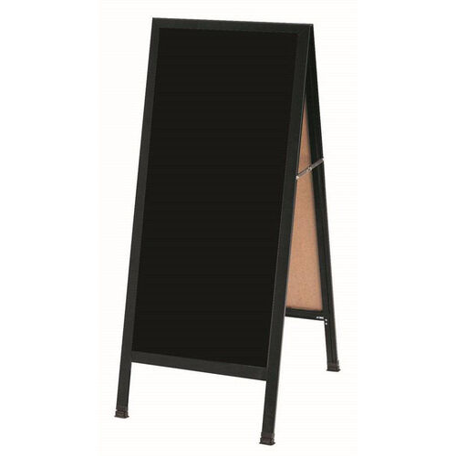 A-Frame Sidewalk Black Melamine Marker Board with Black Aluminum Frame - 42''H x 18''W