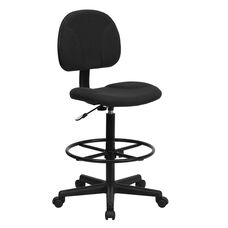 Black Patterned Fabric Drafting Chair (Cylinders: 22.5''-27''H or 26''-30.5''H)