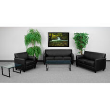 HERCULES Diplomat Series Living Room Set in Black with Free Glass Coffee and End Table
